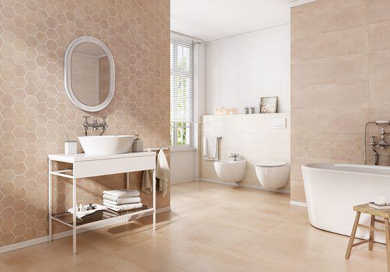 Płytki Plaster Miodu W Miodowym Kolorze W łazience
