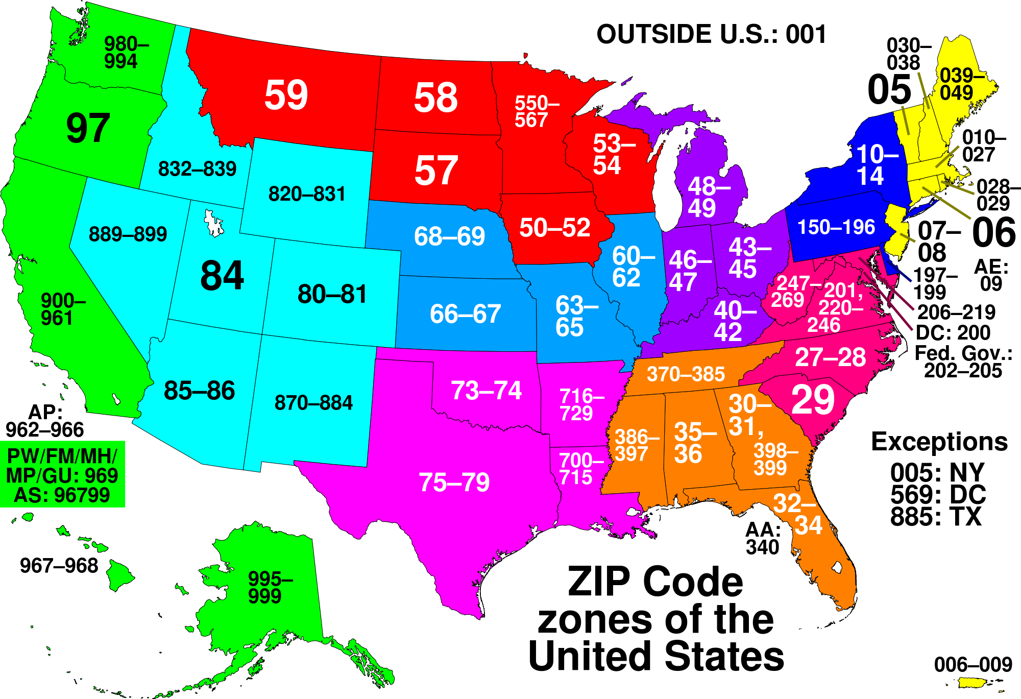ZIP Codes Are A System Of Postal Codes Used By The United States - Map of the postal abreviations for the us