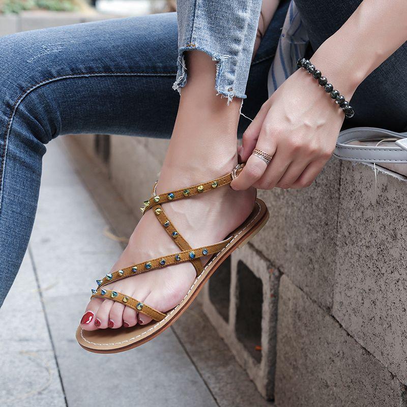 516033d6f5e9 ...  chic  trend  streetfashion  mules  slipon  slingback  slides  flipflop   grungy  2018  edgy  spring  summer  cool  rivets  flats  sandals  bohemian