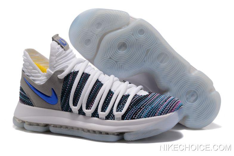 Latest Nike KD 10 White Blue Grey in 2019 | Black basketball