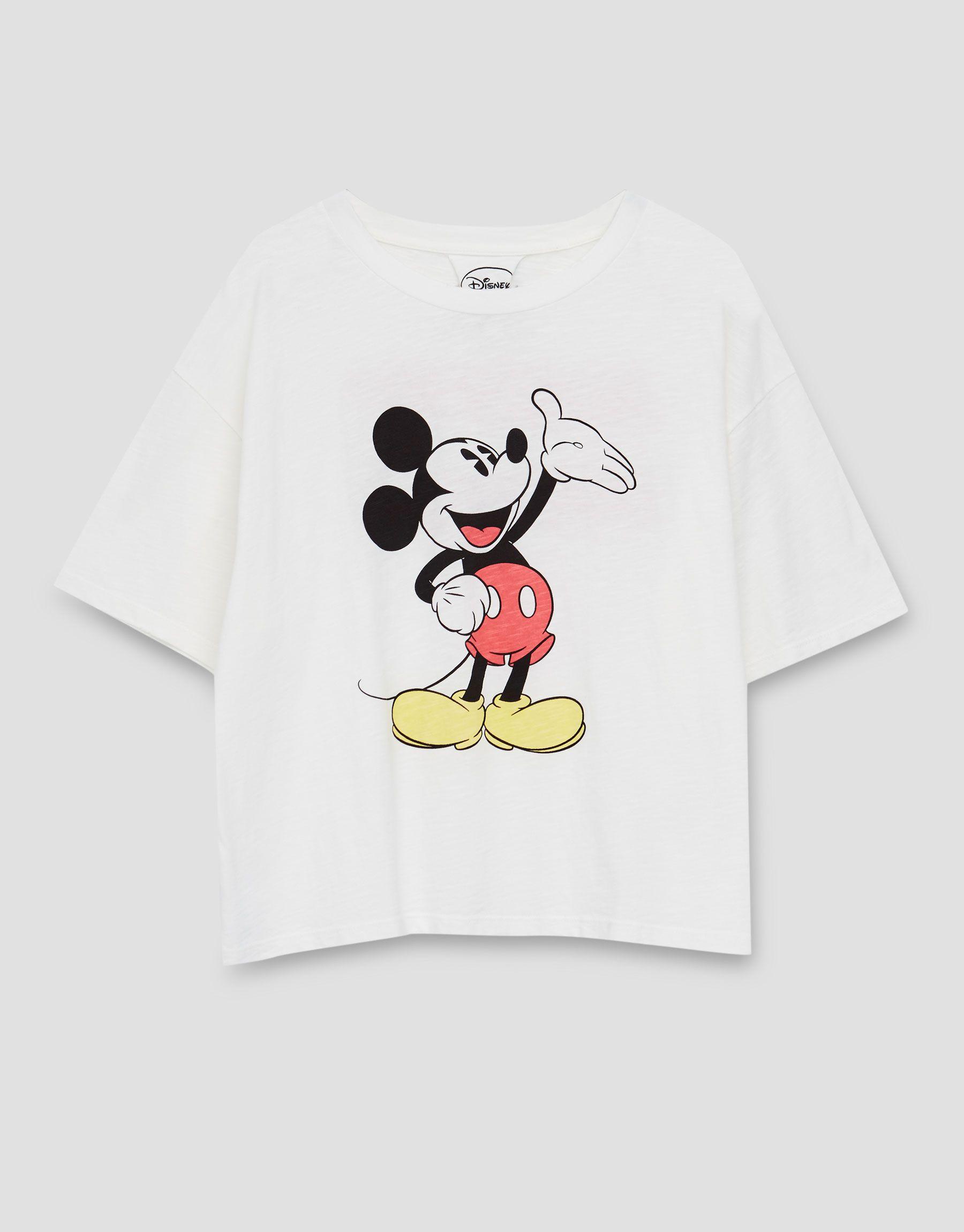 Camiseta Crop Mickey Mouse Camisetas Ropa Mujer Pull Bear Espana Camisa De Mickey Ropa Disney Camisetas De Mickey Mouse