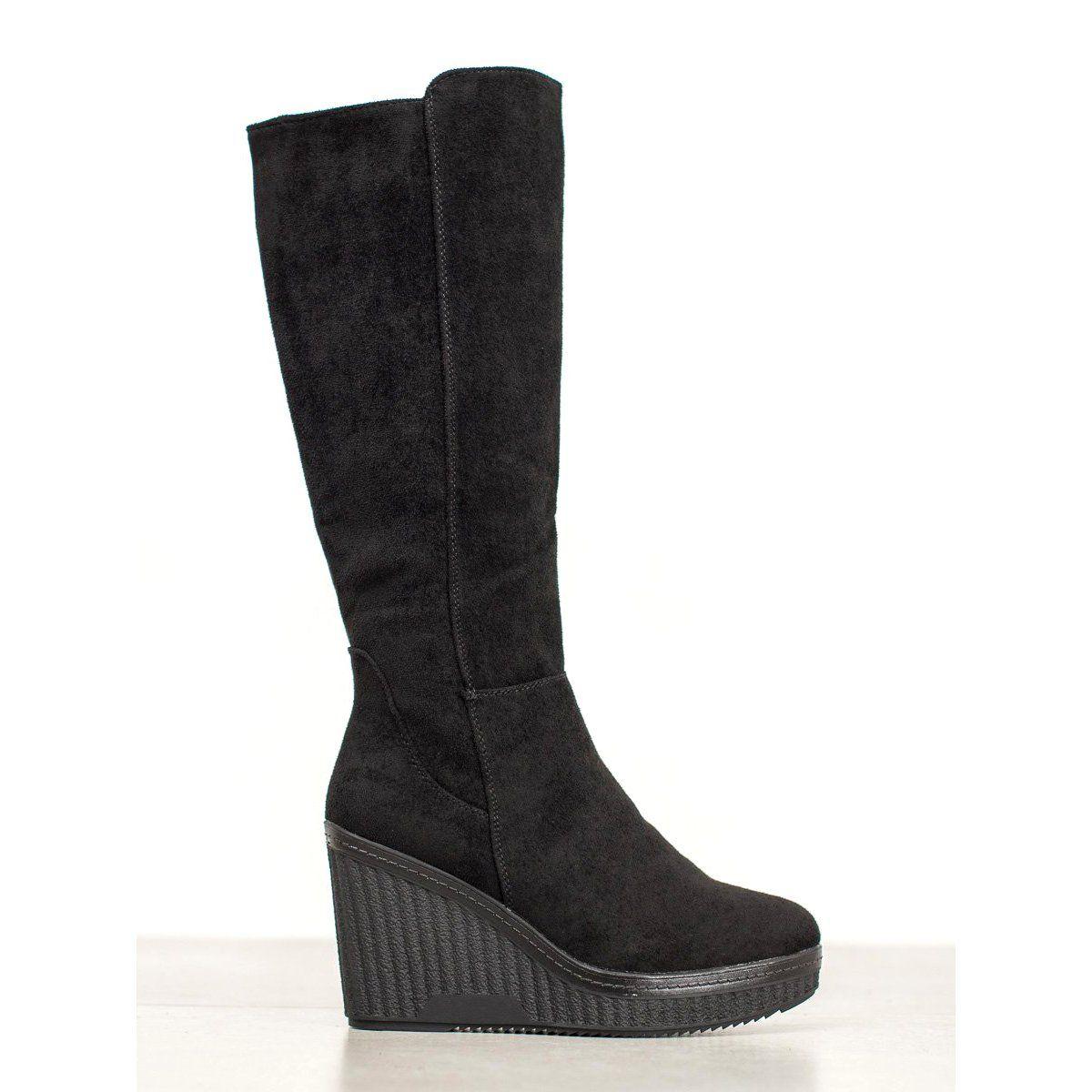 Filippo Czarne Kozaki Na Koturnie Black Wedge Boots Boots Wedge Boots