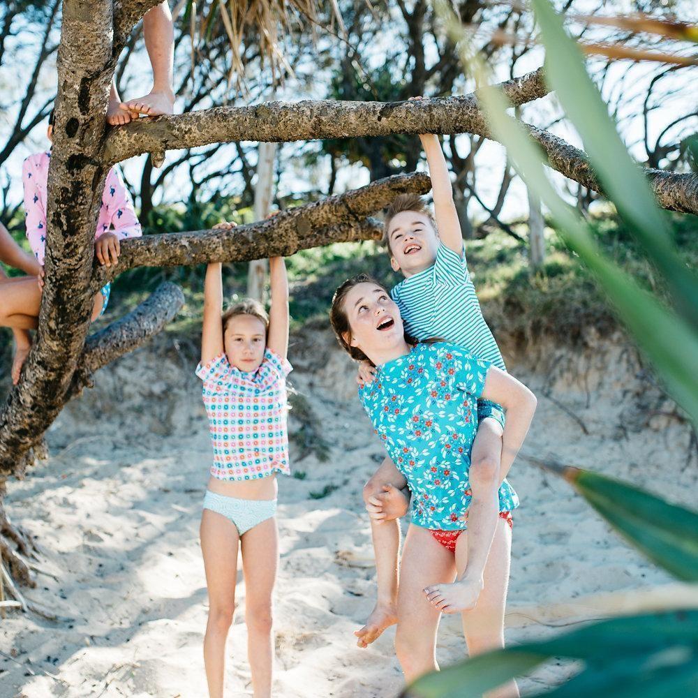 9f8608d651 Girls Blue Floral Short Sleeve Rashie   Sandy Feet Australia   Retro ...