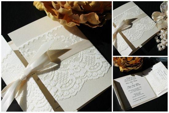 5 Spitze Hochzeitskarten Wundervoll Schleife Elegant Spitze