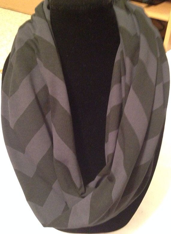Black and Dark Grey Chevron Infinity Scarf by niftynell on Etsy, $13.99