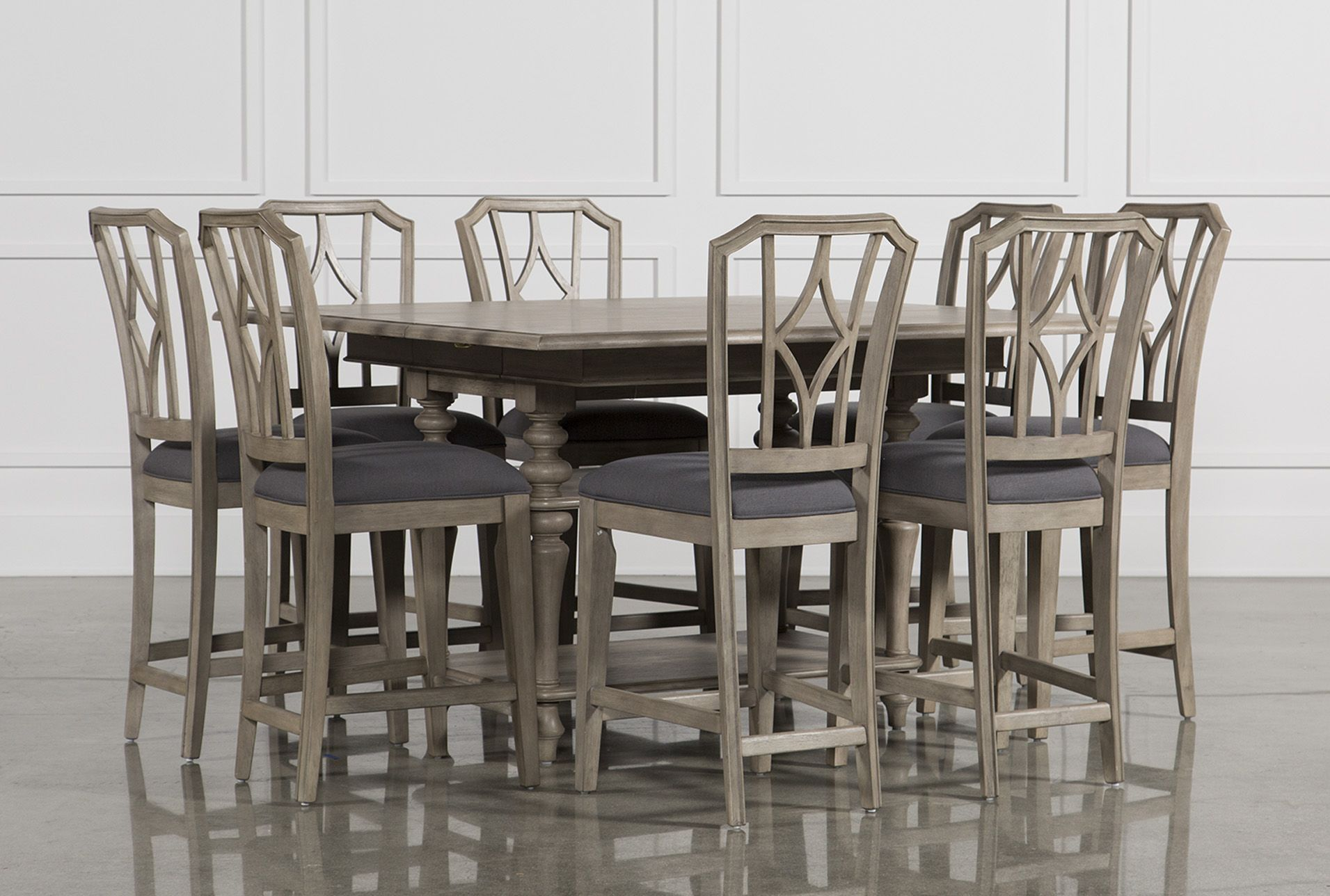 9 piece extension counter set w diamond back stool caira grey rh pinterest com