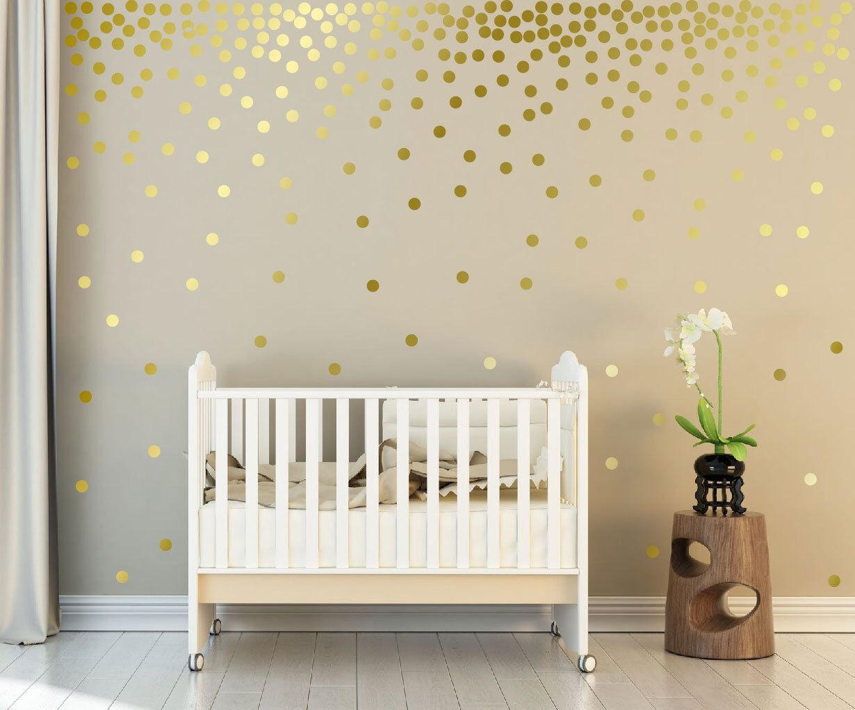 Metallic Gold Wall Decals Polka Dots Wall Decor 1 Inch 152