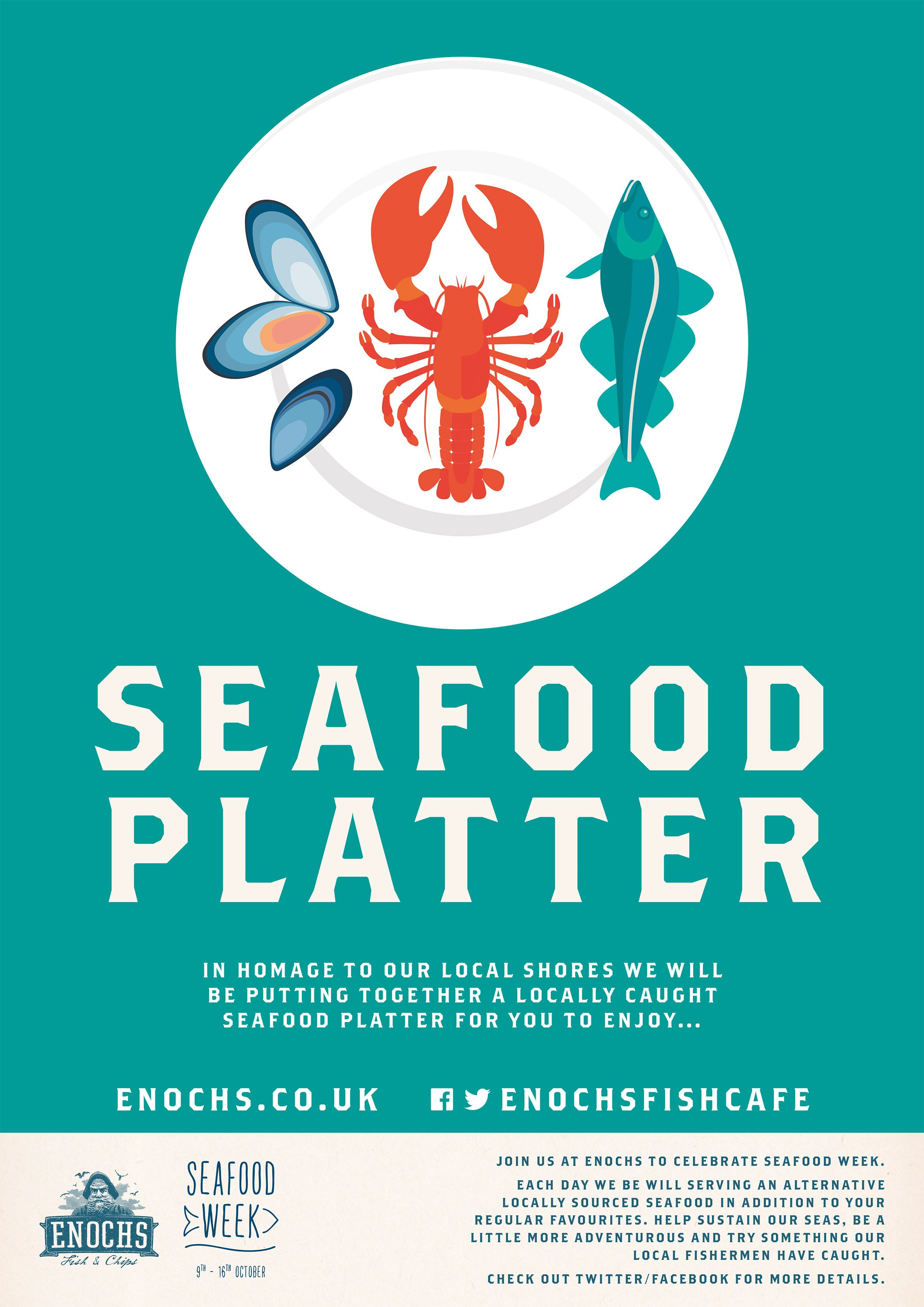 Zoology poster design - Series Of Poster Illustrations For Seafood Week Promoting Enochs Fish And Chip Cafe Illustration