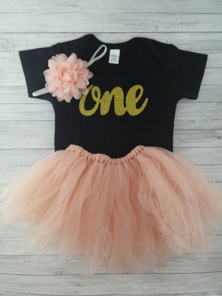 First birthday outfit baby girl. Gold glitter One Onesie