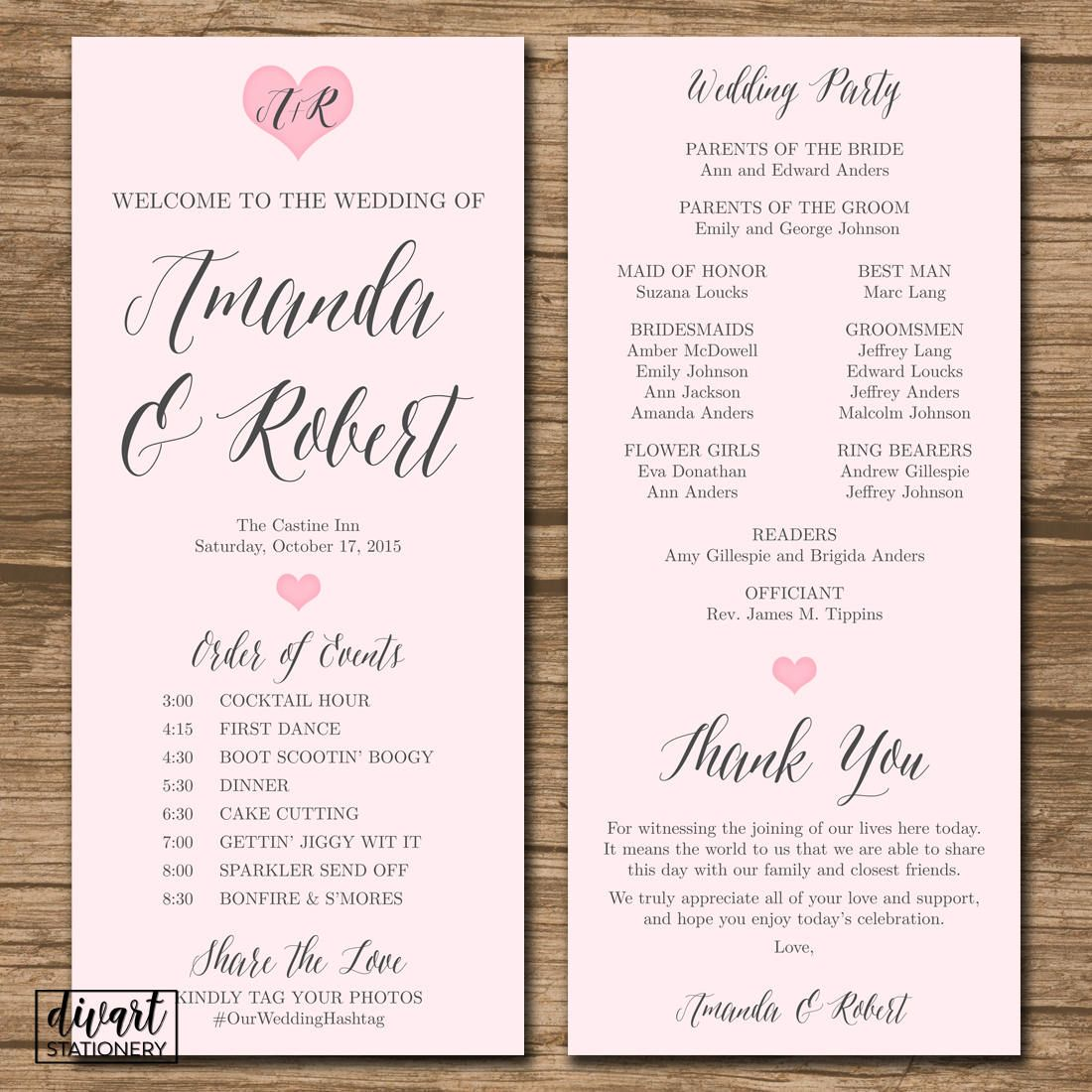 Wedding Program Ceremony Program Order Of Events Printable Files Double Sided Blush Pink H Wedding Programs Ceremony Programs Order Of Wedding Ceremony