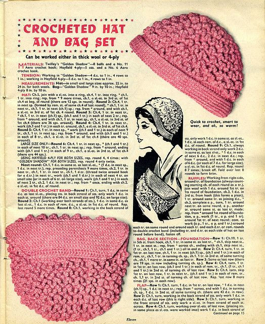 Crocheted Hat and Bag Set by trashingdays, via Flickr | Hats ...