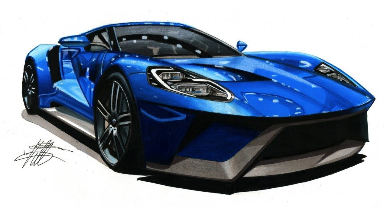 Realistic Car Drawing 2017 Ford Gt Time Lapse In 2020 Car Drawings Ford Gt Car