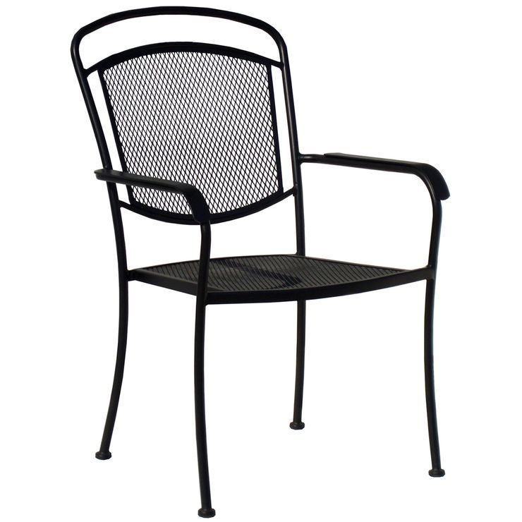 Wrought Iron Mesh Back Chair Black Outdoor Chairs Outdoor