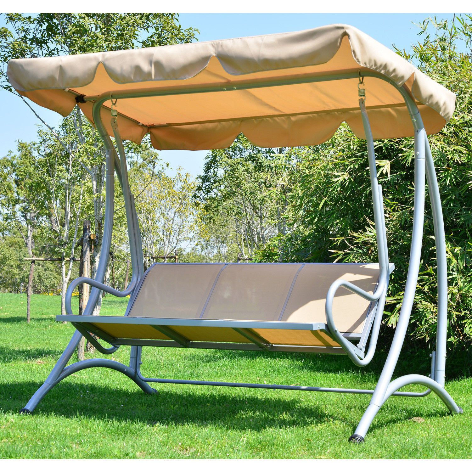 3 Person Outdoor Patio Heavy Duty Canopy Swing Beige
