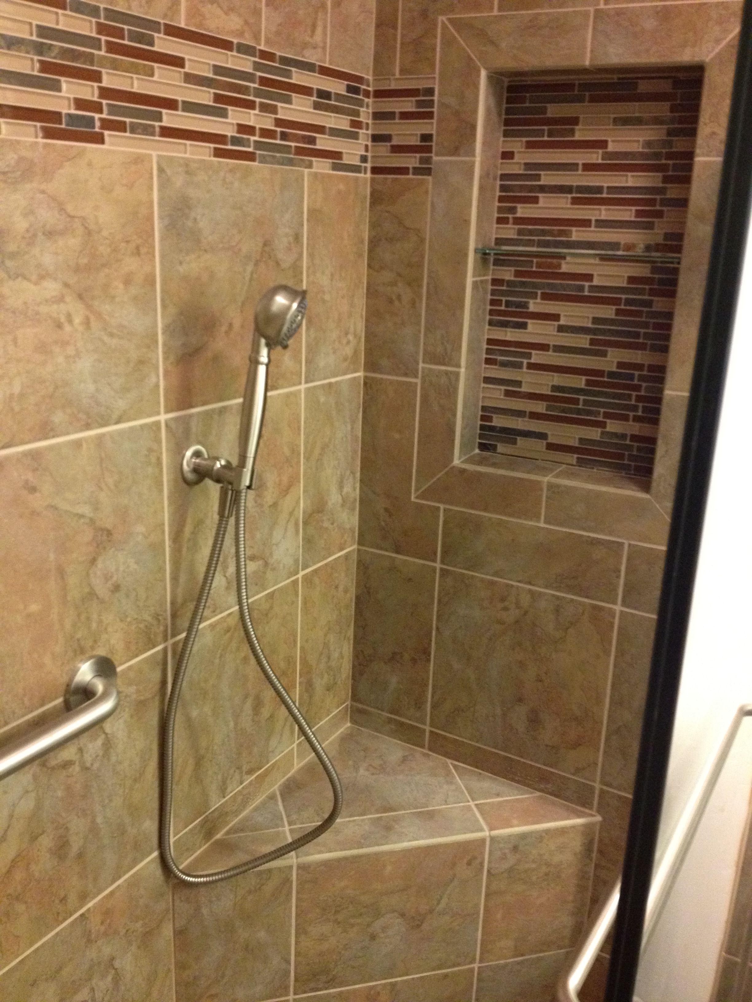 recessed shelf corner bench hand shower custom design. Black Bedroom Furniture Sets. Home Design Ideas
