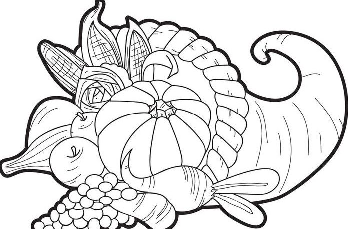 Fruits Basket For Happy Thanksgiving Food Coloring Pages