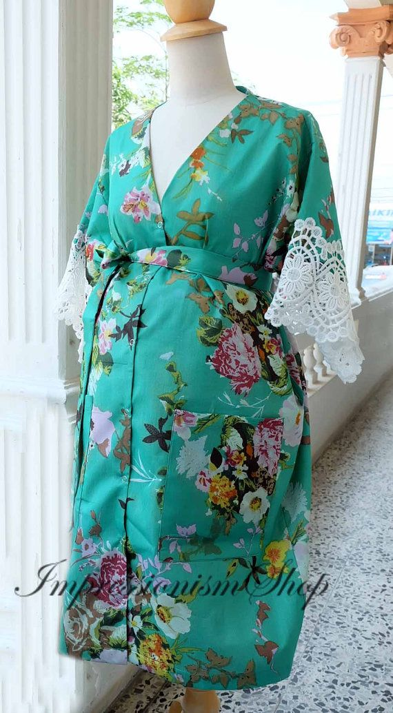 Delivery Labor Gown Long ankle Length robe Bridesmaids Light Green robes Birthing  gown Pregnant robe Gowns Maternity robe