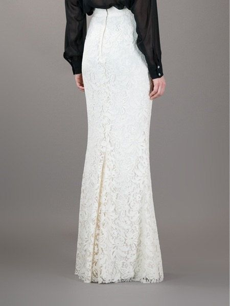 bd613f05305 Floor length white lace high waist maxi skirt