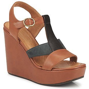 SUMMER OULET 15% OFF! omg these gorgeous two-tone all #leather #wedge #sandals from @Chie Mihara are perfect for #summer! On sale now with free delivery from Spartoo UK! #fashion #shoes #women #outlet #clearance