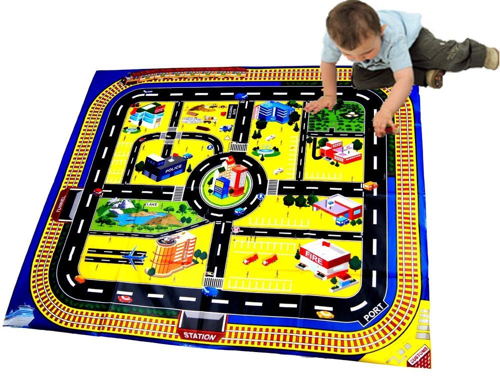 Kids Giant City Playmat Floor Play Mat for Toy Cars Road Railway Train Track