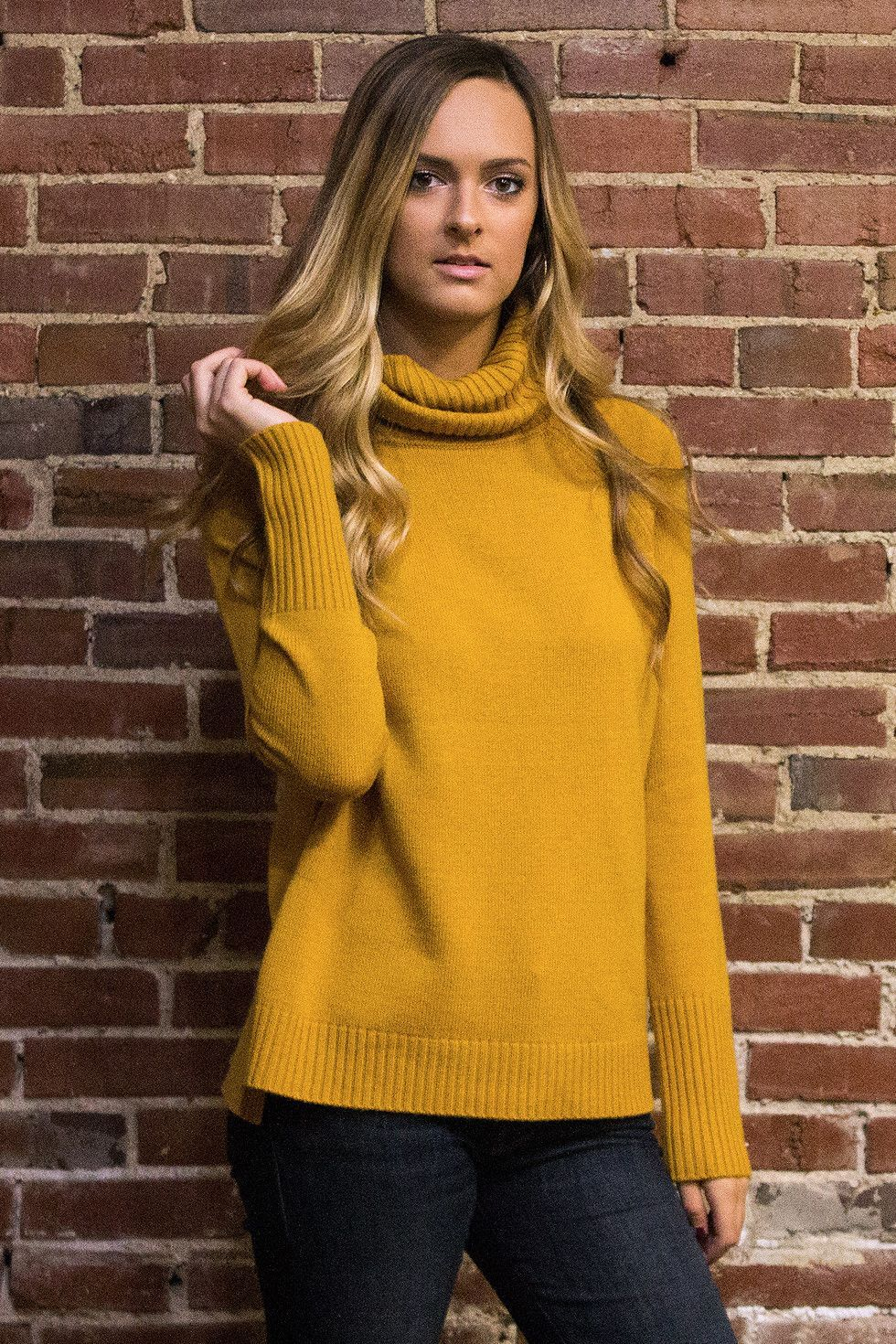 Super cozy long sleeve sweater with a roll over turtleneck and ...
