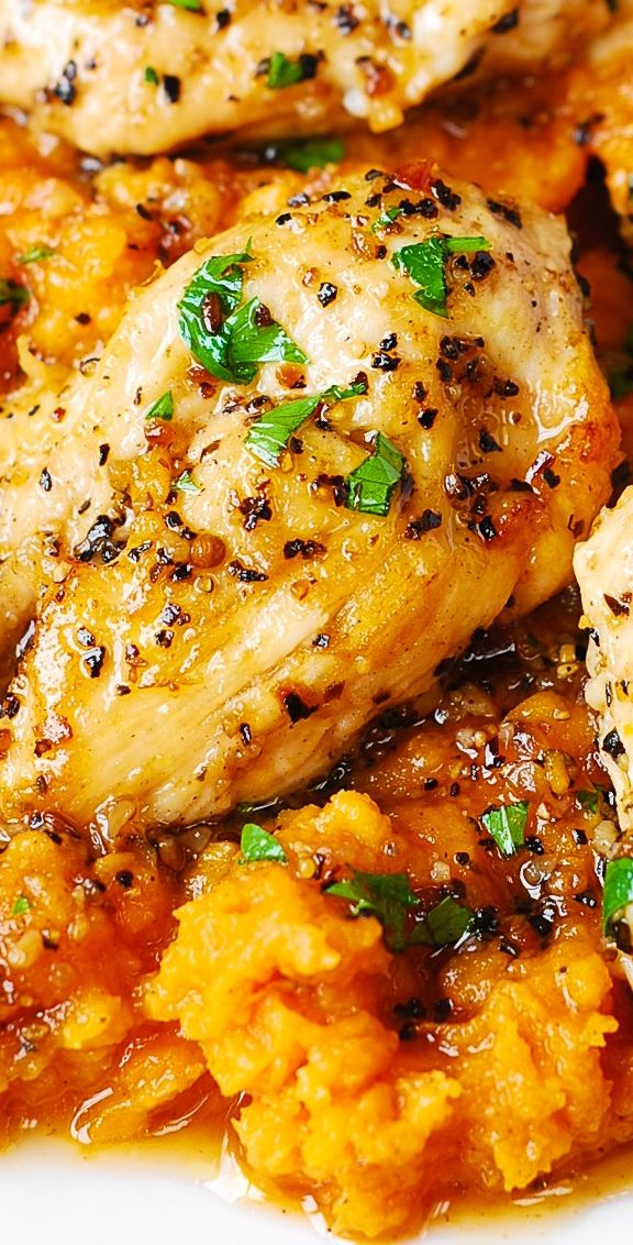 Maple-Glazed Chicken with Sweet Potatoes #fallrecipesdinner