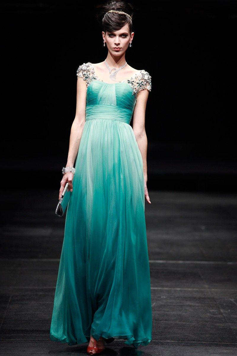 Regency Style Turquoise Cap Sleeves Prom Pageant Evening Gown -IN ...