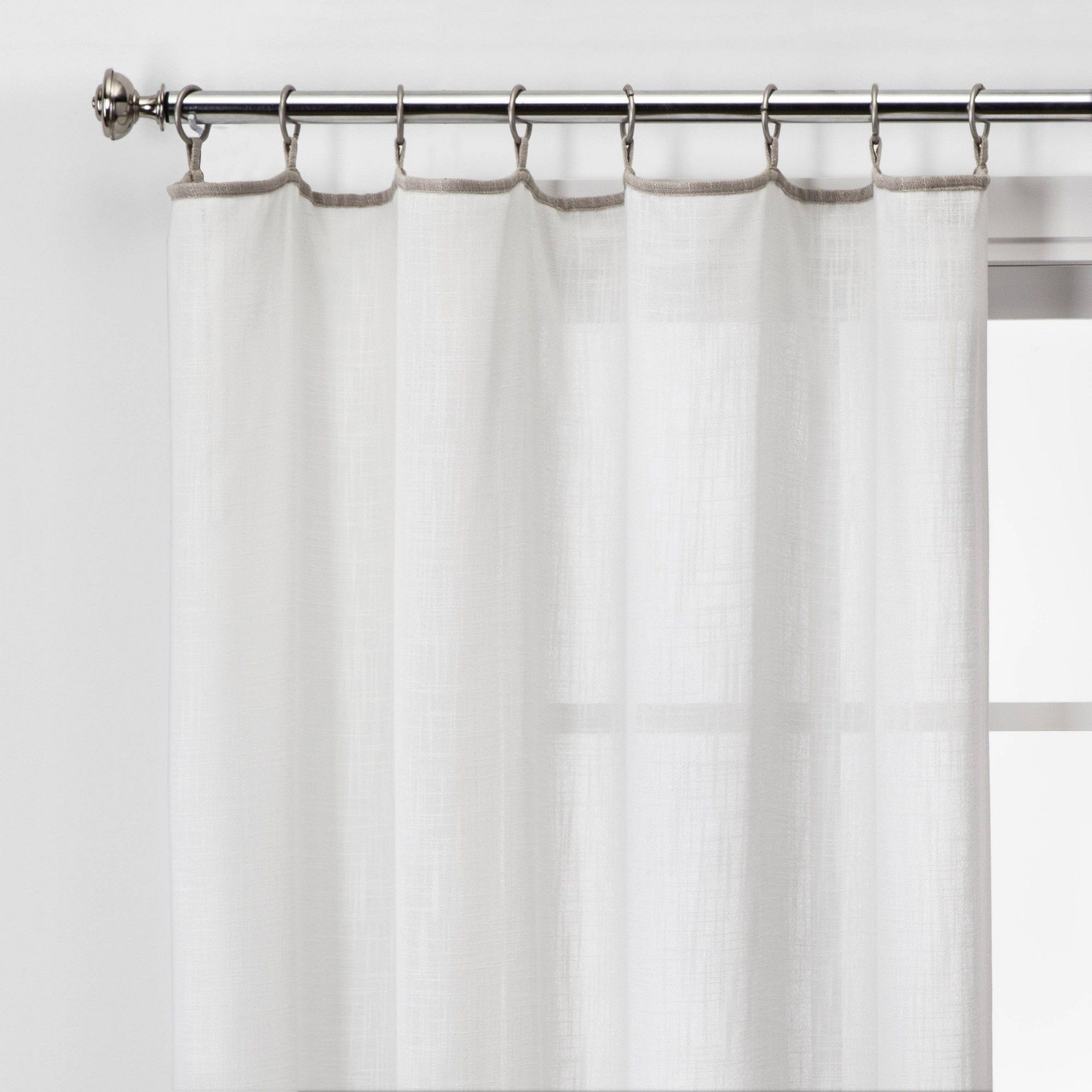 108 X54 Contrast Edge Solid Sheer Window Curtain Panel White