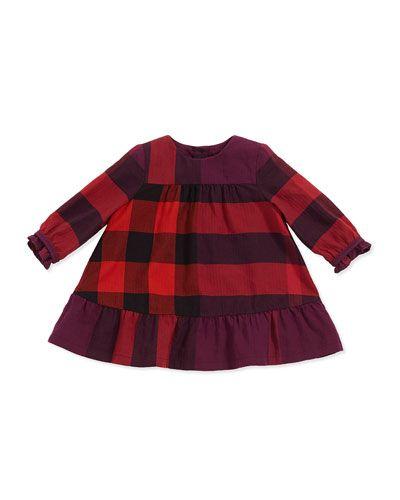 97fc32f083 Burberry - Check Empire-Waist Dress, Deep Fuchsia | Harper Elle ...