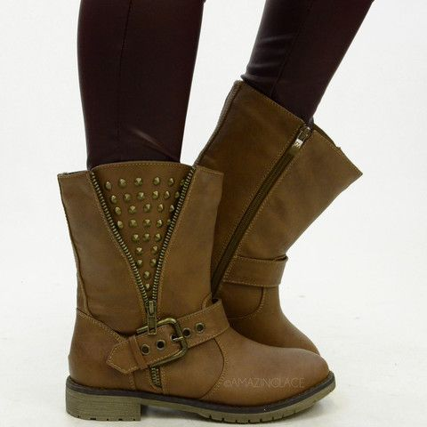 brown studded side zip rustic fall boots