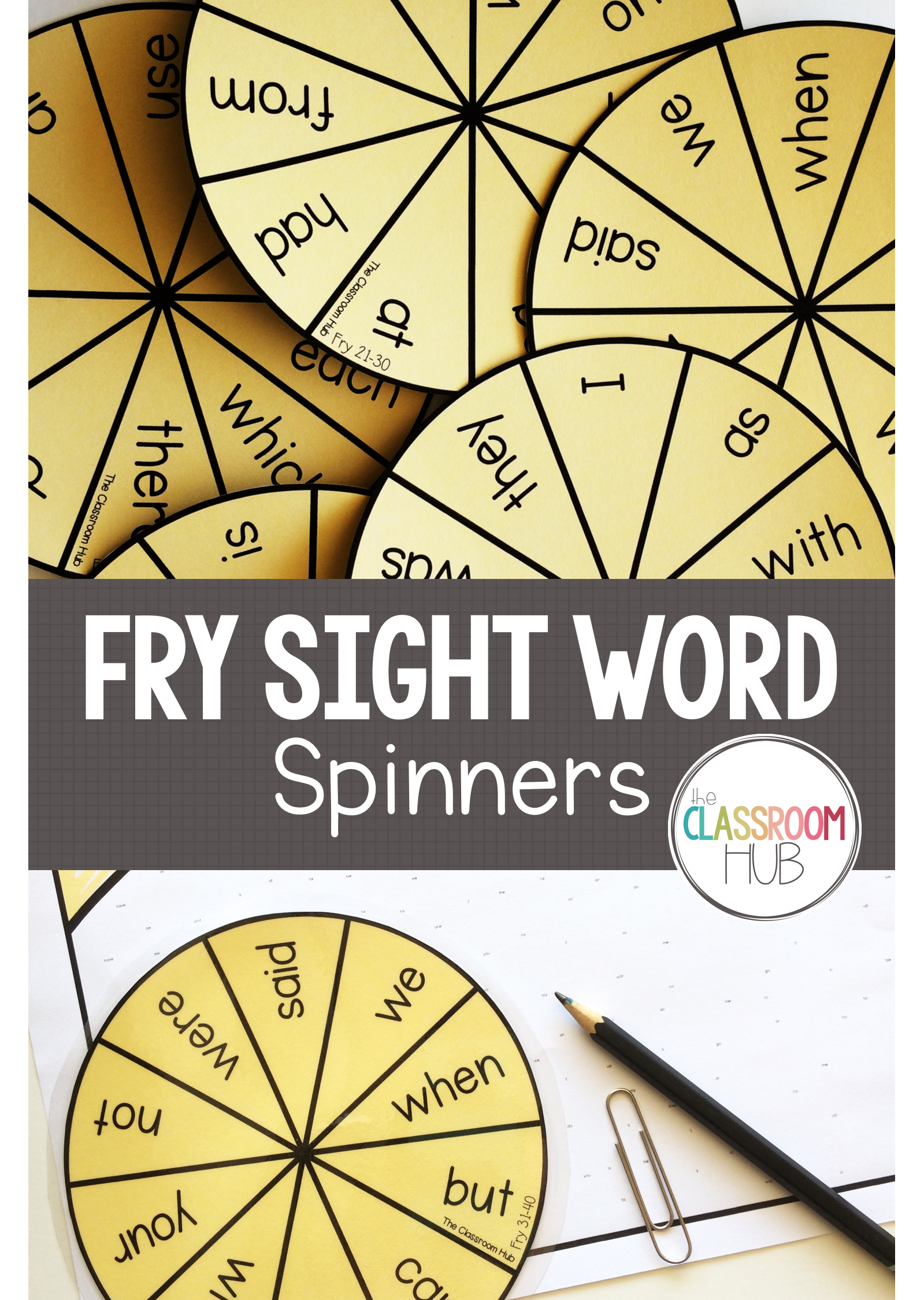 Fry Sight Word Spinners – for Literacy Centers and Word Game ...