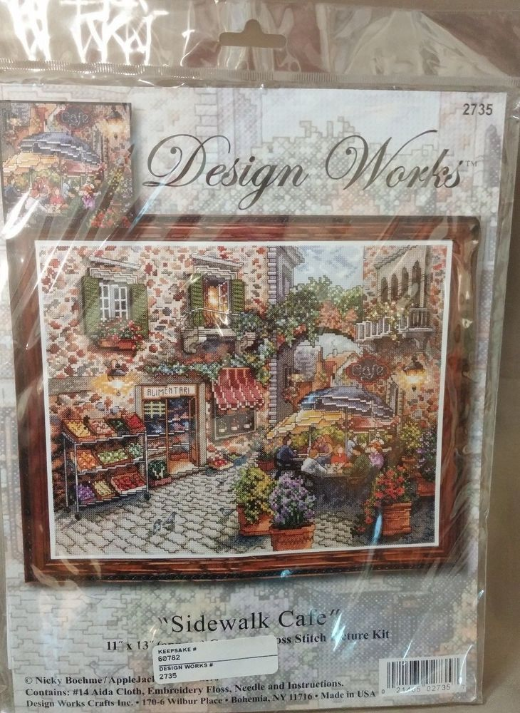 Sidewalk Cafe Design Works 11 X 13 Counted Cross Stitch Kit New In Package Designworks Frame
