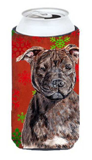 Staffordshire Bull Terrier Staffie Red Snowflakes Holiday Tall Boy Beverage Insulator Hugger SC9753TBC