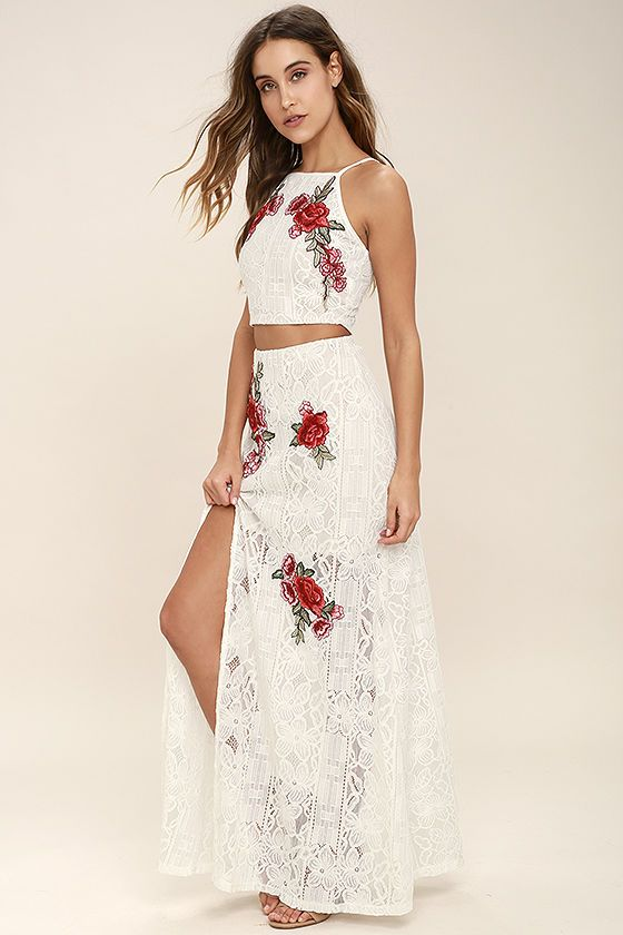 4ac0ea4c563 The Take a Vow Ivory Lace Two-Piece Maxi Dress is a promising pick for any  engagement! Romantic red and green floral embroidery decorates an ivory lace  ...