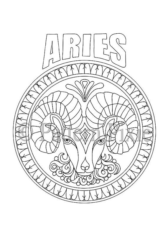 Mandala Sterrenbeelden Kleurplaten.Adult Coloring Page Zodiac Aries Patronen Patronen Kleurplaten