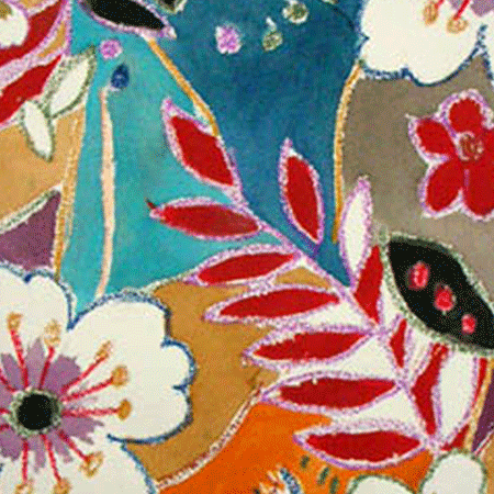 Spanish Folklore Fabric Abstract Floral Vintage Fabric Patterns
