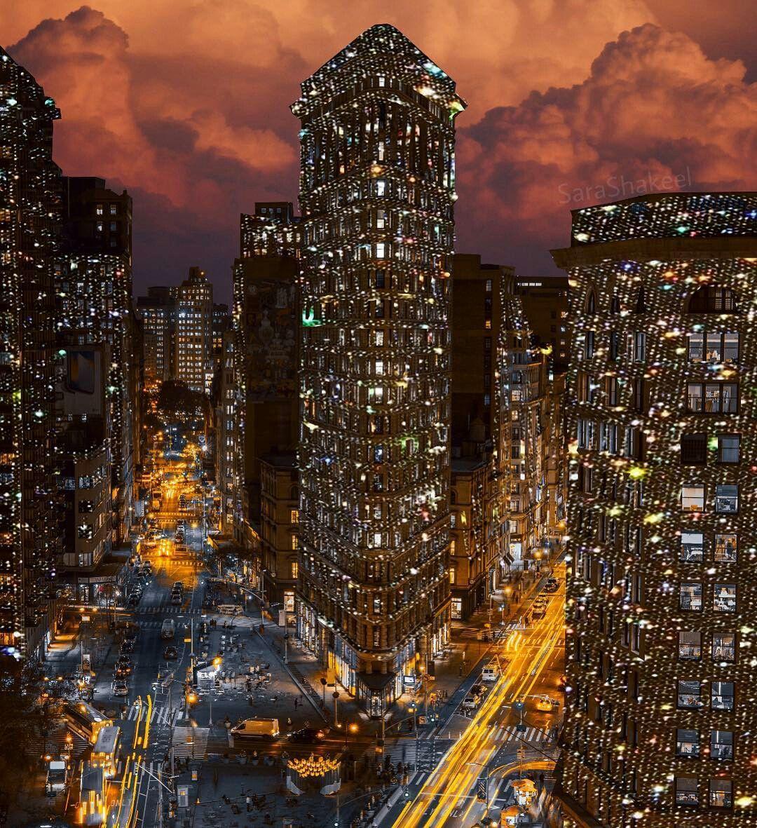 блестящие картинки город объемного огнеупорного