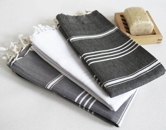 SET 3 Head and Hand Towel Peshkir Black White Gray