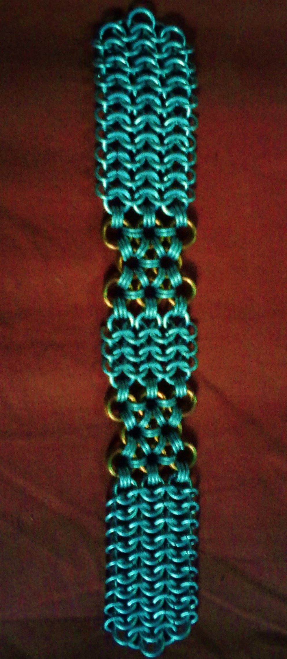 Copper and steel english pattern/ japanese pattern chain maille bracelet www.facebook.com/debosjewlery