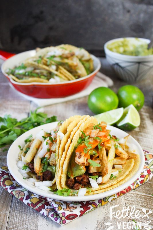 'California Burrito' Tacos! Traditional California-style burrito fillings -including fresh french fries -stuffed into warm corn tortillas. #vegan #GF
