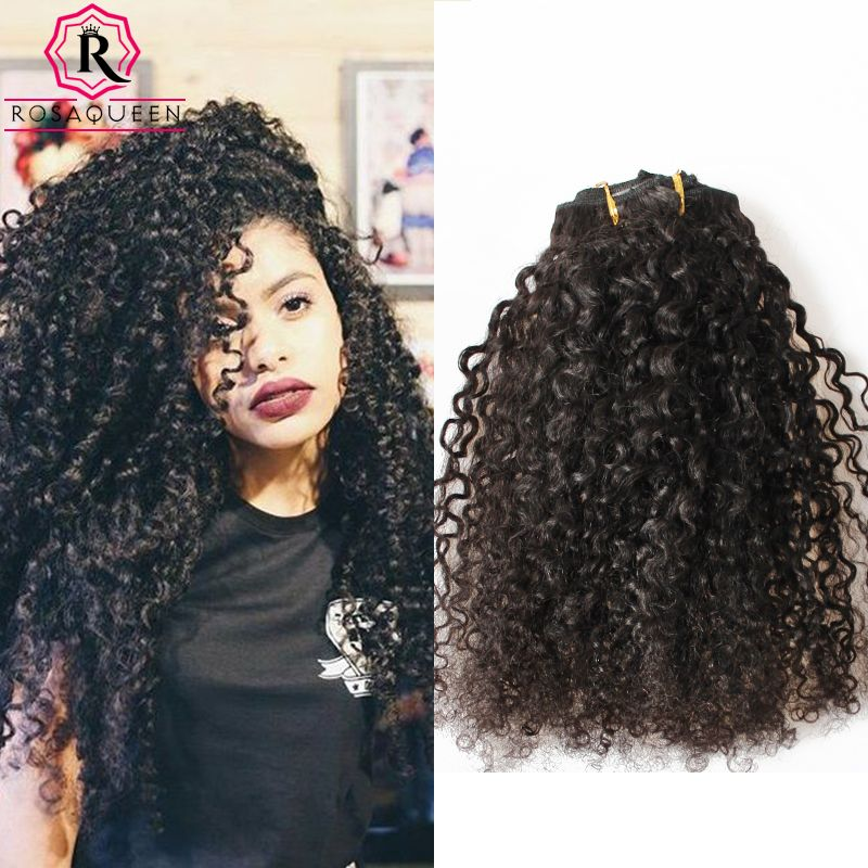 Kinky Curly Clip In Hair Extensions Natural Hair 3b 3c African