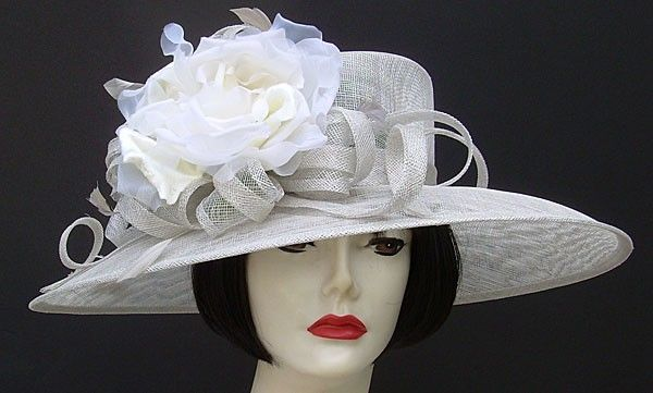 ce31c8f8a08 Custom Derby Hat in Silver Grey Sinamay   Ivory Rose by HAT-A-TUDE ...