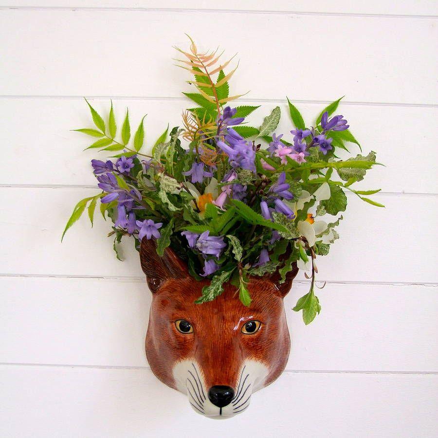 Marvelous Sly Fox Ceramic Wall Vase