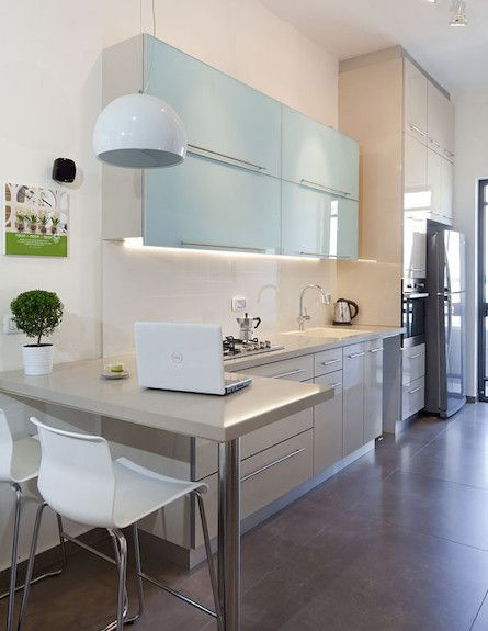Small narrow kitchen layout idea new home design ideas pinterest narrow kitchen for Narrow kitchen design pictures