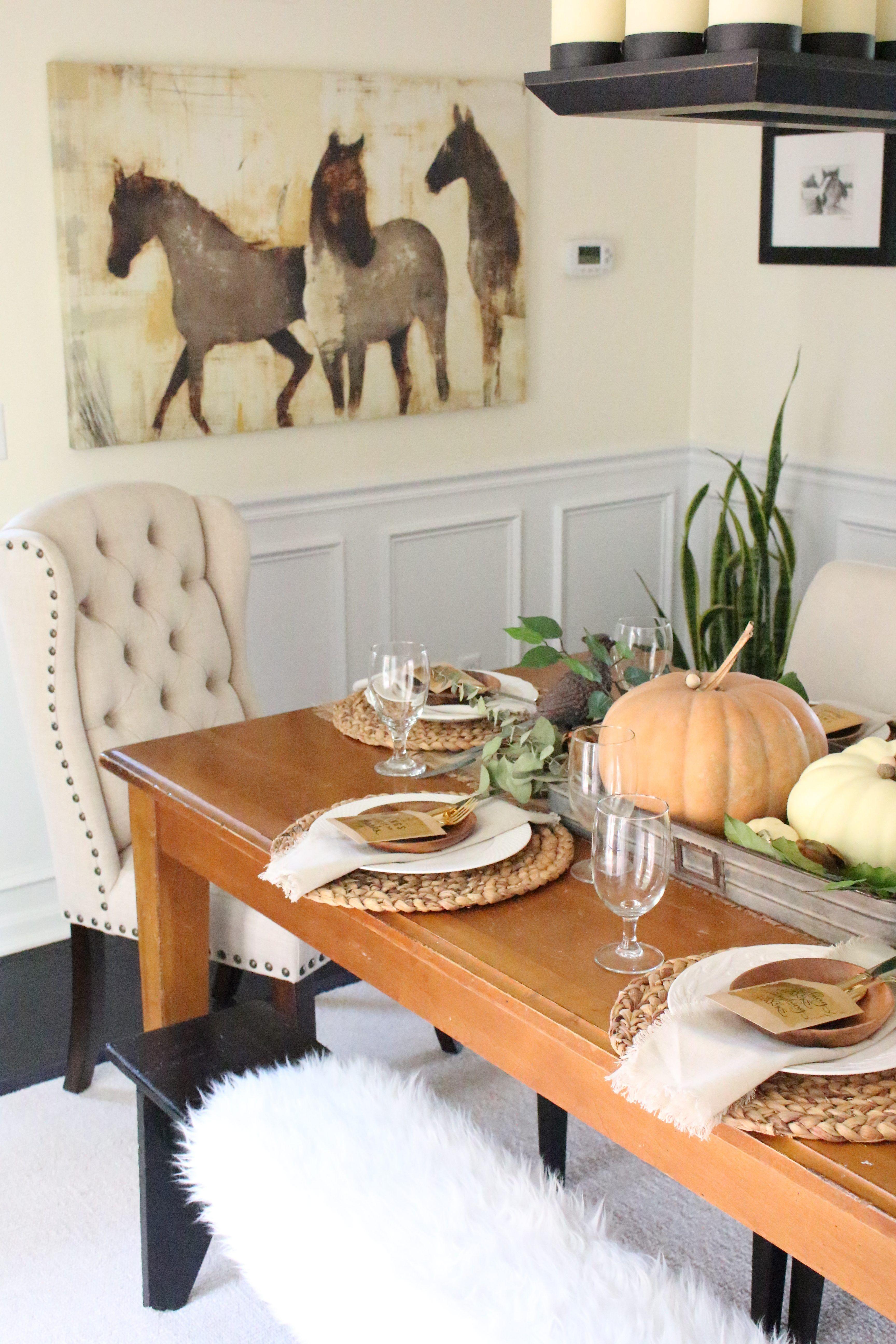 Superb Home Decor Table Part - 7: Thanksgiving Tablescape- Rustic- Tablescape- Thanksgiving- Holiday Table-  Thanksgiving Decor- Table