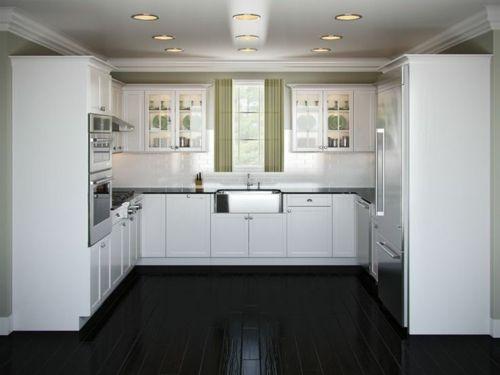 u-form küche weiße schränke und glänzender holzboden | haus
