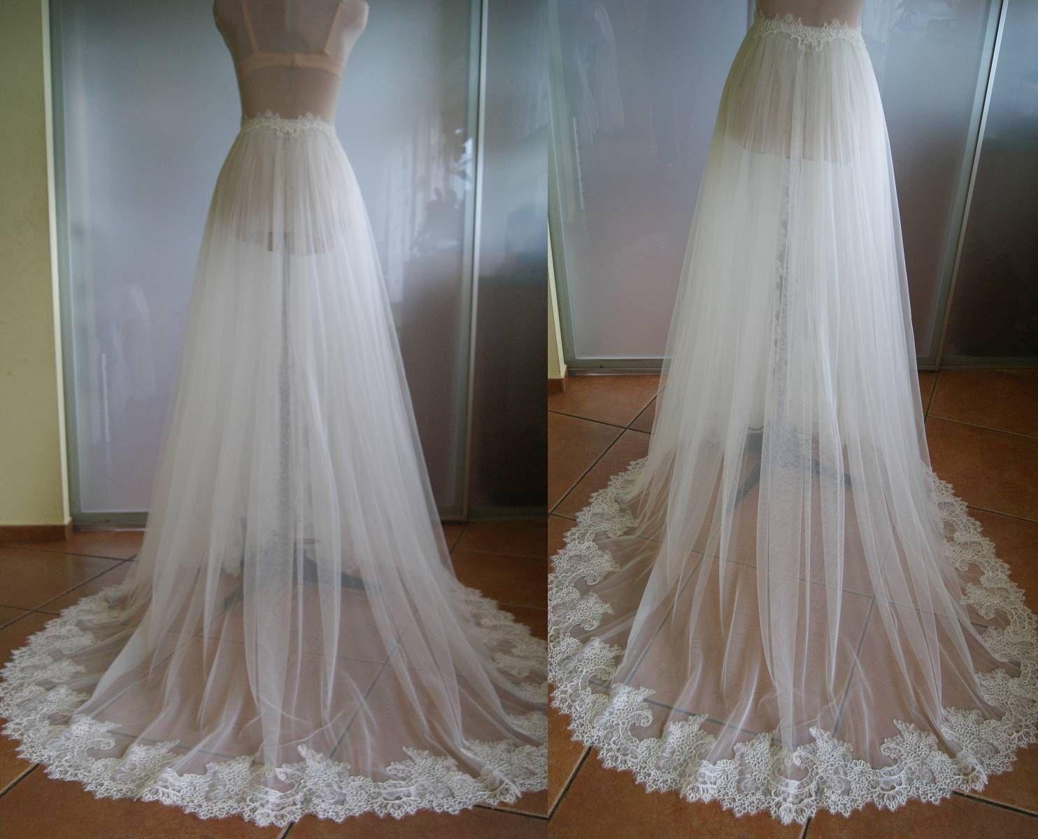 Detachable skirt train for wedding dressnika tulle