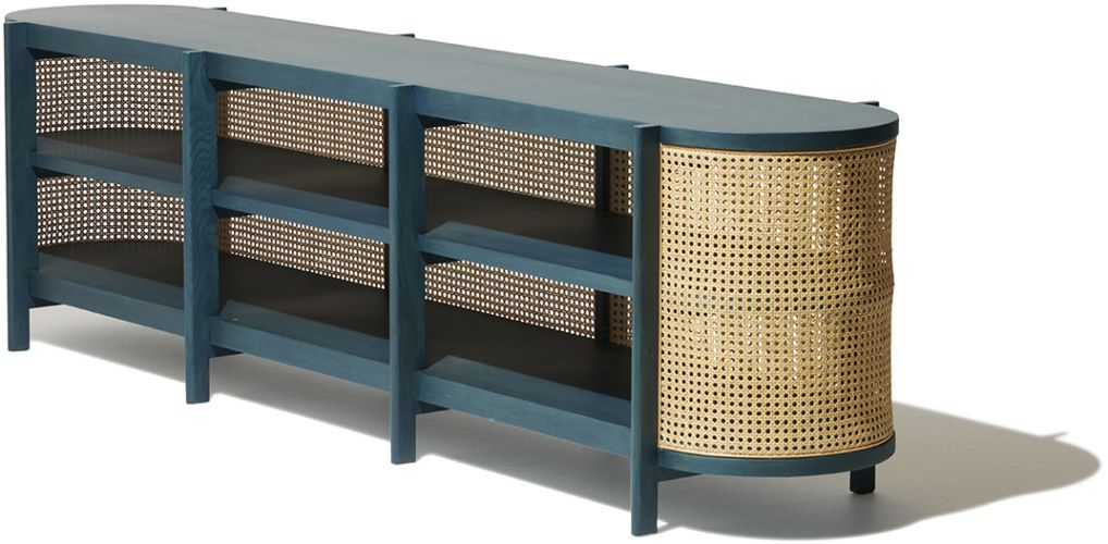 Cane Media Console Media Console Blue Cabinets Dream Furniture