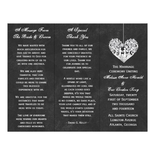 Hanging Tree Heart On Chalkboard Wedding Program Flyer Design