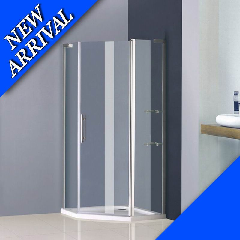 900x900mm Frameless Pivot Shower Enclosure Glass Screen Door And Stone Tray